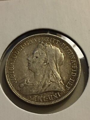 1893 Great Britain England Queen Victoria Florin Two Shillings AU det.-cleaned