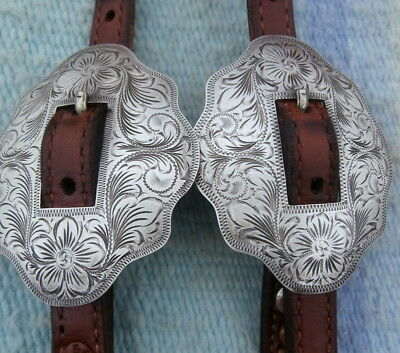 Vintage Sterling Silver Engraved Fleming Buckle Champion Show Horse Headstall