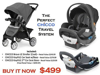 Chicco Bravo LE KeyFit2 Car Seat Travel System W 2nd Base