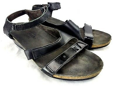 dad5c755523a NAOT Kayla Wedge Sandals Womens Eu 39 US 8-8.5 Black Patent Leather Ankle  Strap