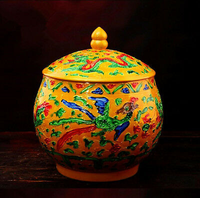China Porcelain jingdezhen yellow red blue carving dragon lid Tea canister pot