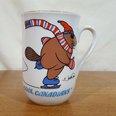 Vintage Viletta Cool Canadians Skating Beaver Ceramic Coffee Mug Tea Cup Signed