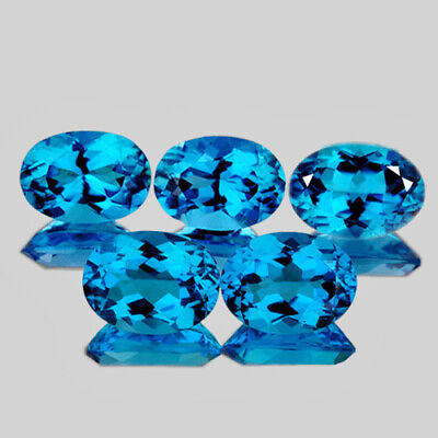 7x5mm OVAL 5 PIECES AAA SWISS BLUE TOPAZ NATURAL LOOSE GEMSTONE [FLAWLESS]