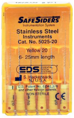 Essential Dental Systems 5025-20 SafeSiders Reamers Stainless Steel 25mm 20 6/Pk