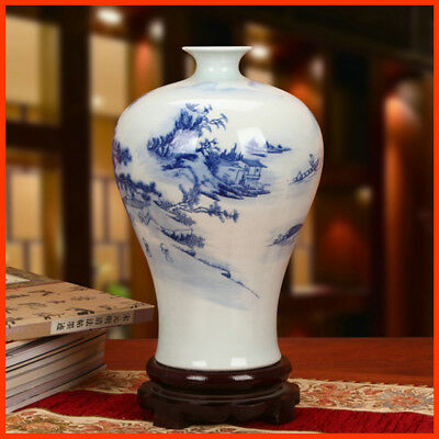 1480s Chinese Antique Replica Blue and-White Porcelain Ceramic Pottery VASE QH04