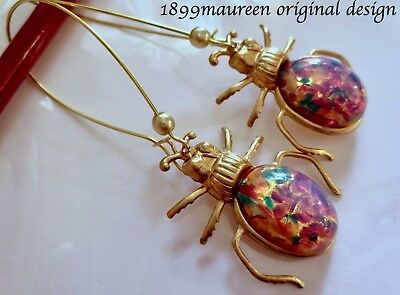 Egyptian Revival Art Deco Art Nouveau scarab earrings opal glass vintage style