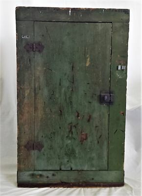 1800s antique early PRIM WOOD CABINET 28x17 green paint signed HMP handmade aafa