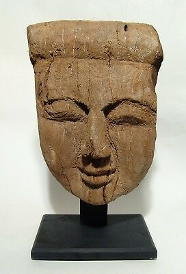 Ancient Egyptian Wooden Mummy Mask - 11 in x 8 in (27.9 x 20.3 cm)