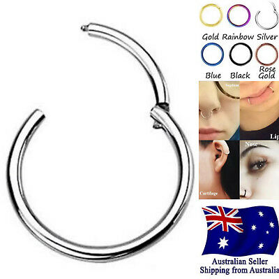 1pc Stainless Steel Hinged Segment Clicker Hoop Ring Lip Ear Nose Body Piercing