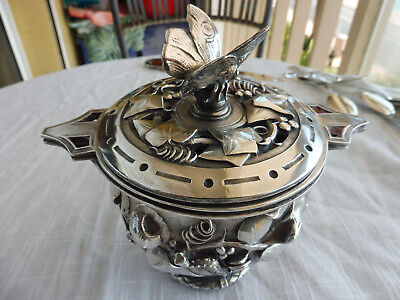 19thc Antique French Aesthetic Period Silver Over Bronze Potpourri Covered Dish