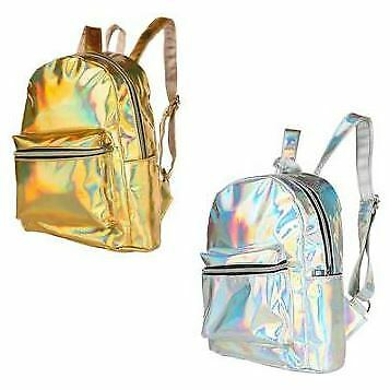 Adult 80s 90s Shiny Holographic Metallic Festival Travel Backpack Rucksack Bag