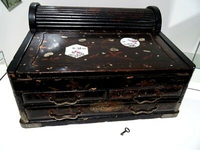 19thC antique Chinese TAMBOUR WRITING BOX MOP LACQUER gentleman's SEA CAPTAIN