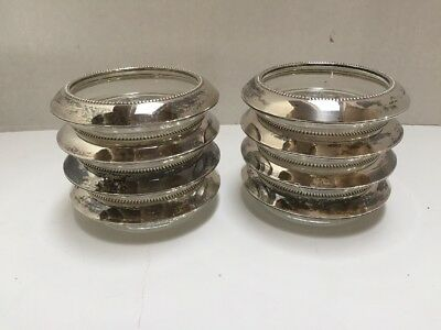Frank M. Whiting Sterling Silver/glass Set Of 8 Coasters