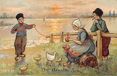 POSTCARD   CHILDREN  DUTCH  KIDS   The  Rivals