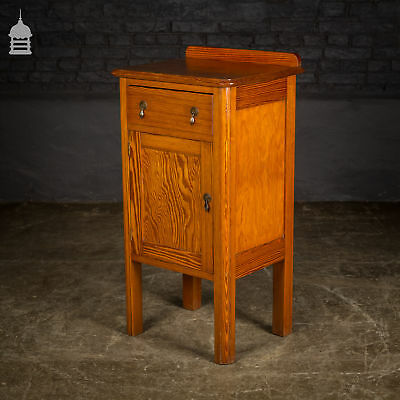 Edwardian Pitch Pine Bedside Table Cabinet with Drawer