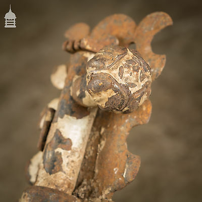 Pair of 19th C Decorative Forged Iron Ecclesiastical Tower Bolts from a Church