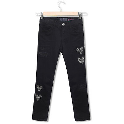 Girls Black Jeans Jeggings Kids Slim Skinny High Waisted Age 4-16 Years