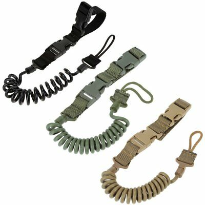 Quick Release Coiled Pistol Safety Lanyard Hand Gun Bungee Tactical Coil Chain