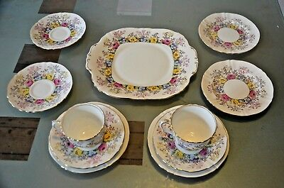 "11 piece Crown Staffordshire Cups 3"" Plate 5 1/2"" Cake Plate 10"""