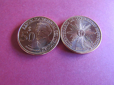 """Uruguay- 50 pesos 2011 Coin """"200th Anniversary of Independence"""" UNC KM# 139"""