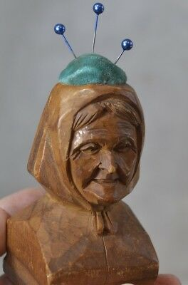 antique sewing pin cushion carved wood figural lady head Germany original