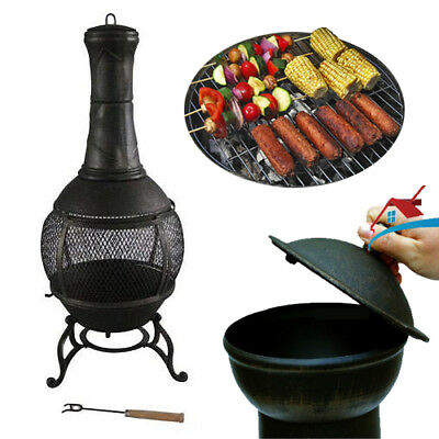 Outdoor Cast Iron Chiminea Garden Fire Stove Patio Cooker Barbeque Chiminea Heat
