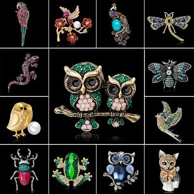 Fashion Crystal Insect Pearl Animals Enamel Dragonfly Owl Bird Brooch Pin Gift