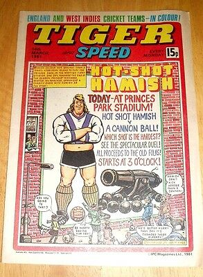 Tiger Comic 1981 With  England & West Indies Cricket Teams  Centrefold  Poster