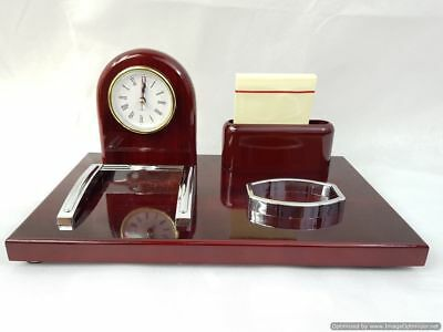 Wooden Office Table Stationary Holder Roman Dial clock, Notes & Card holder