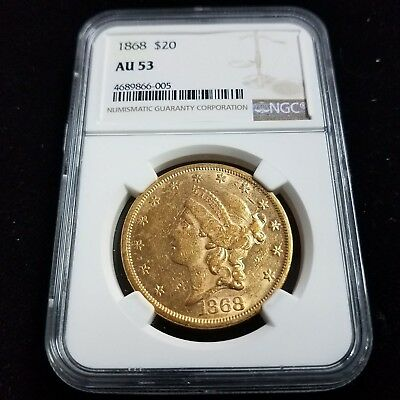 1868 $20 American Gold Double Eagle NGC AU53 20 Dollar Collector Coin AF6005