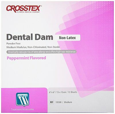 "Crosstex 19500 Rubber Dental Dams 6"" x 6"" Lavender Mint Non-Latex 15/Pk"