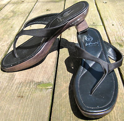 Whos Asian Style Ladies Carved Wooden Sole Sandals Flip Flops Shoes Black 38