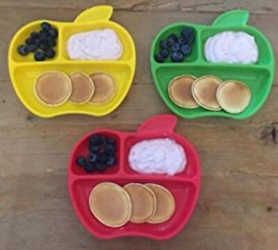 MUNCHKIN Toddler Baby food Plates 3 Sections Apple Fruit Shaped red green yellow