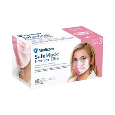 Medicom 2046 SafeMask Premier Elite Earloop Face Masks ASTM Level 3 Pink 50/Bx