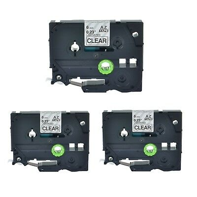 """3PK TZ111 TZe111 Black on Clear Label Tape for Brother P-Touch PT-1190 6mm 1/4"""""""