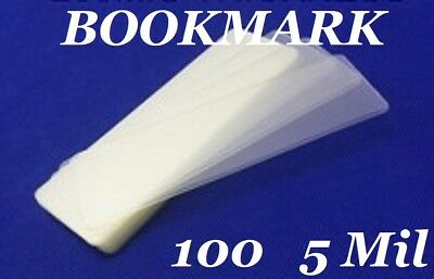 100 Bookmark Small 5 Mil Laminating Pouches Laminator Sleeves 2-1/8 x 6