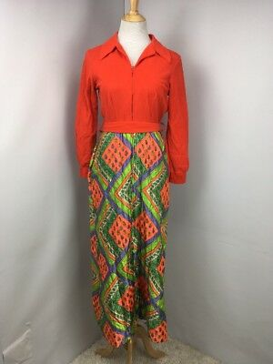 Vintage 70s Sears Best At Home Wear House Coat/Robe Bright Neon USA MADE Sz S/M