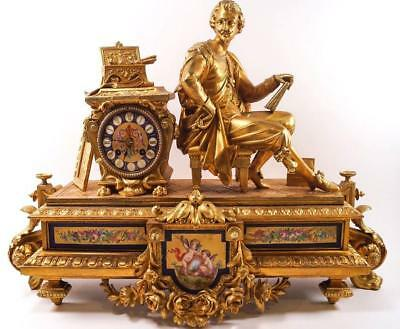 Impressive Large C19th French Ormolu Mantle Clock By Brevet F (64 cm long)
