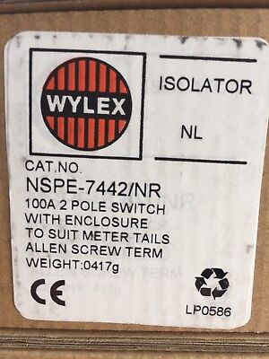 wylex 100a 2 pole isolator main switch with enclosure