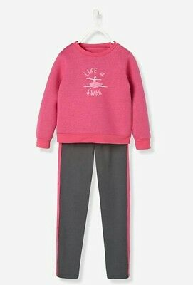 Girls New Verbaudet Sweatshirt & Joggers Set Age 5-6y 114cm Like a Swan