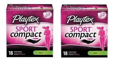 Lot2x NIB Sealed 18ct Playtex Sport Compact Tampons Super Unscented Free Ship