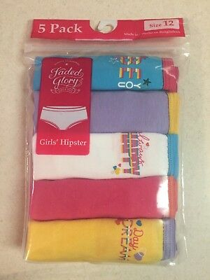 New Faded Glory ~5~Five Pack Girls Hipster Underwear Panties Size 6 10 12