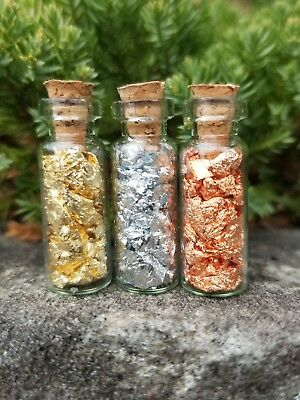24kt Gold Silver Copper Leaf Flakes - Vials Jars - Bullion - Free Set Offer
