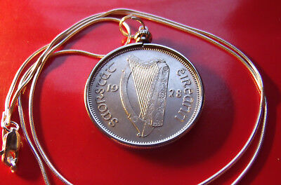 "1928 Irish Half Crown Pendant on a 22"" 925 Italian Round Silver Snake Chain"