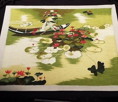 """EXQUISITE 16.5""""x21"""" Chinese Suzhou SILK Embroidery CANOE-WATER LILIES/LOTUS Art"""