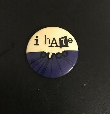 'I HATE DISCO' Genuine Vintage 1970's Punk Rock Metal Pin Badge Sex Pistols