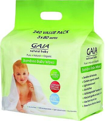 2 x 240 pack Gaia Baby Natural Bamboo Baby  (480 wipes)