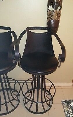 "pair of 2 swivel wrought iron bar stools hand made 30""black studded long island"
