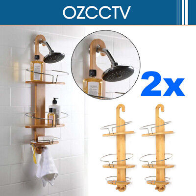 2x 3-Tier Bathroom Bamboo Bath Caddy Shower Holder Tray Organizer Shelf Rack