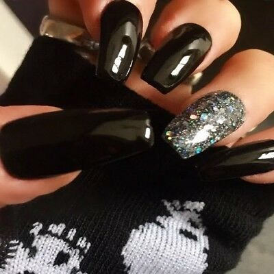 Hand Painted False Nails Black Diamond Gel Coffin Full Cover Press On Nails